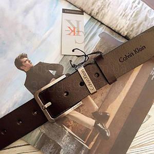 Чоловічий шкіряний ремінь Calvin Klein репліка Коричневий
