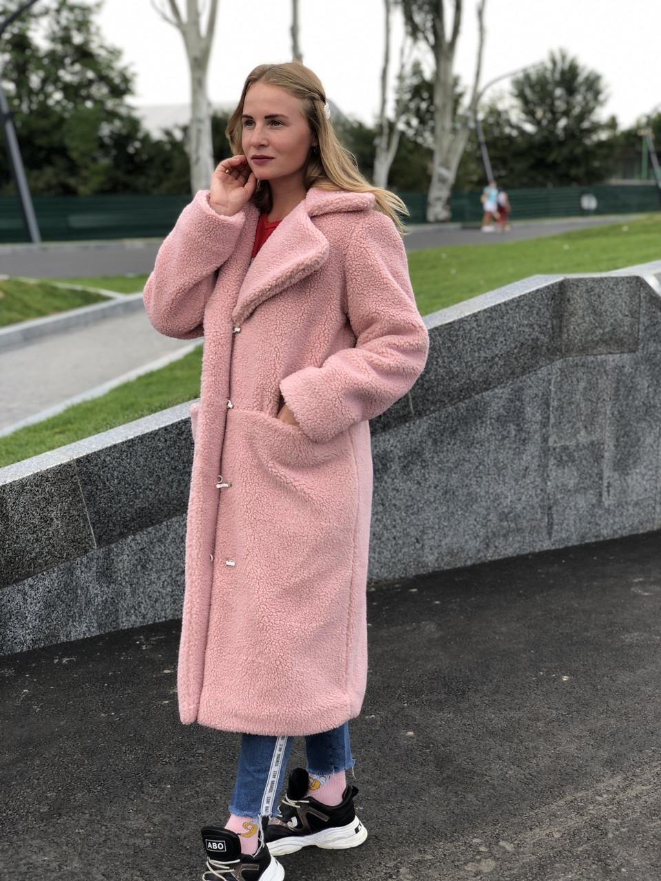 Женская шуба из эко меха Ева розовая