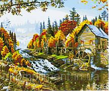 """Картина по номерам  """"Водяная мельница"""" 40*50 см, краски - акрил"""
