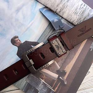Мужской кожаный ремень Giorgio Armani реплика Коричневый