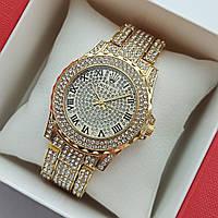 Женские наручные часы Rolex (ролекс) на браслете, золотые, полностью в камушках - код 1702