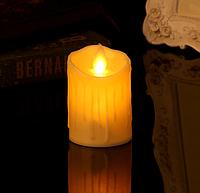 Электронная светодиодная свеча 75х100мм, 2700К с пультом 3хААА парафиновый воск