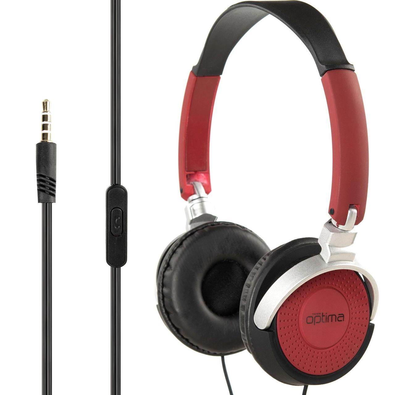 Наушники гарнитура накладные MP3 Optima HWB-001 Red