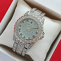 Жіночі наручні годинники Rolex (ролекс) на браслеті, сріблясті, повністю в камінцях - код 1703