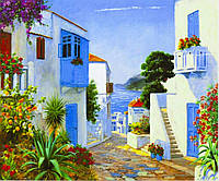 "Картина по номерам  ""Городок у моря"" 40*50 см, краски - акрил"
