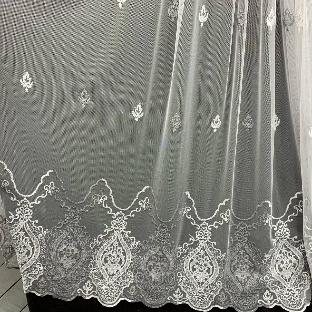 Елегантний кремовий тюль з фатину з вишивкою сірого кольору на метраж, висота 3 м (GR24287)