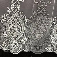 Елегантний кремовий тюль з фатину з вишивкою сірого кольору на метраж, висота 3 м (GR24287), фото 2