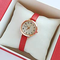 Жіночі кварцові наручні годинники Bolun на червоному ремінці, золотисті з бежевим циферблатом - код 1704, фото 1