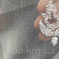 Элегантный белый тюль из фатина с вышивкой на метраж, высота 3 м, фото 5