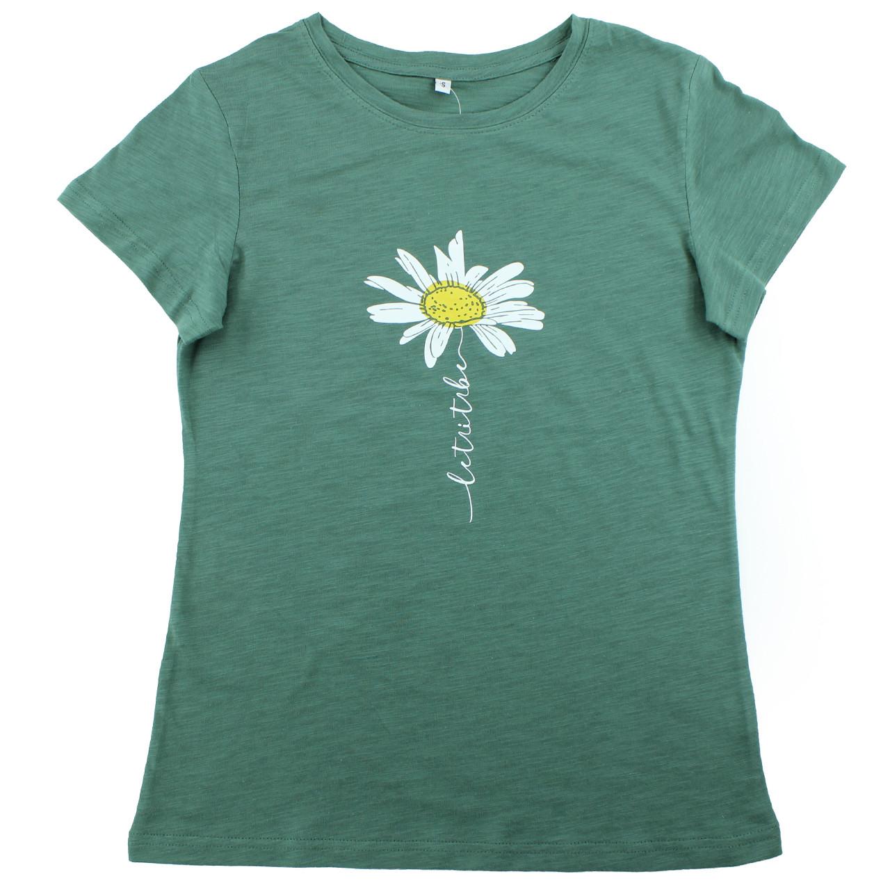 Підліткова зелена футболка зі складу з принтом ромашки, футболка з ромашкою