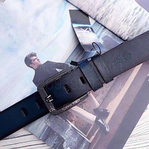 Чоловічий шкіряний ремінь Calvin Klein репліка Темно-синій