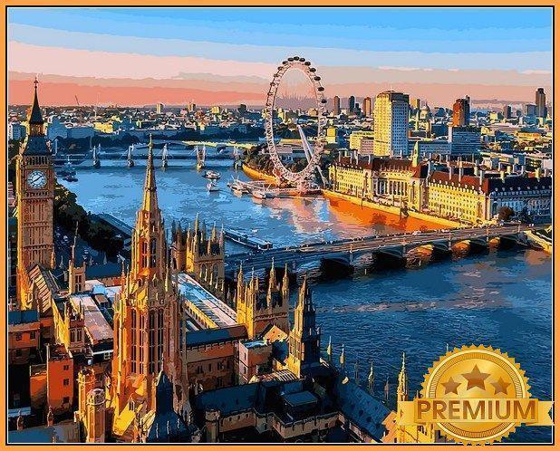 Картина по номерам 40×50 см. Babylon Premium (цветной холст + лак) Лондон - город с древней историей (NB 1089)