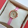 Женские кварцевые наручные часы Bolun на розовом ремешке, золотистые с бежевым циферблатом - код 1705