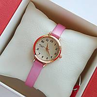 Женские кварцевые наручные часы Bolun на розовом ремешке, золотистые с бежевым циферблатом - код 1705, фото 1