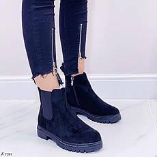 Ботинки женские черные, демисезонные из эко замши. Черевики жіночі чорні з еко замші утеплені, фото 2