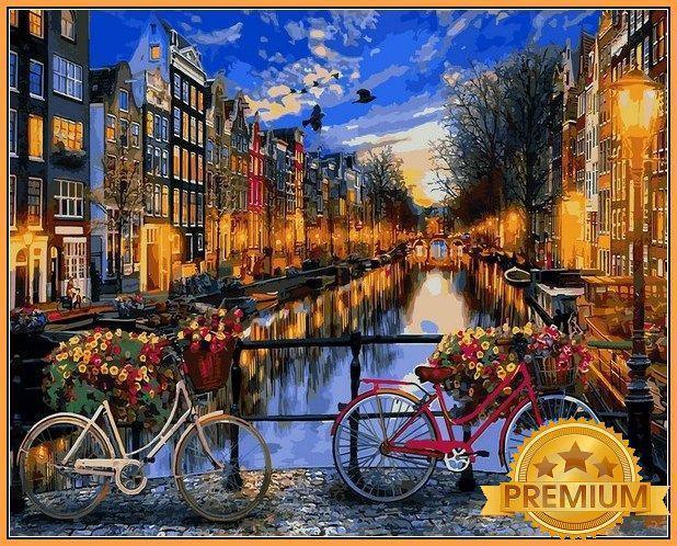 Картина по номерам 40×50 см Babylon Premium (цветной холст + лак) Амстердам (NB 1148)