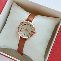 Женские кварцевые наручные часы Bolun на коричневом ремешке, золотистые с бежевым циферблатом - код 1707, фото 1