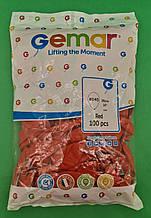 """Надувні кулі пастель червоний 10"""" (25 см) Gemar 100 шт (1 пач.)"""