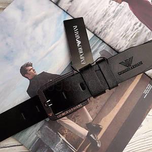 Мужской кожаный ремень Giorgio Armani реплика Черный