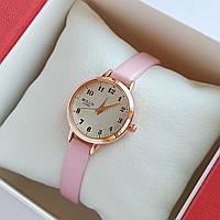 Жіночі кварцові наручні годинники Bolun на пудровом ремінці, золотисті з бежевим циферблатом - код 1709, фото 1