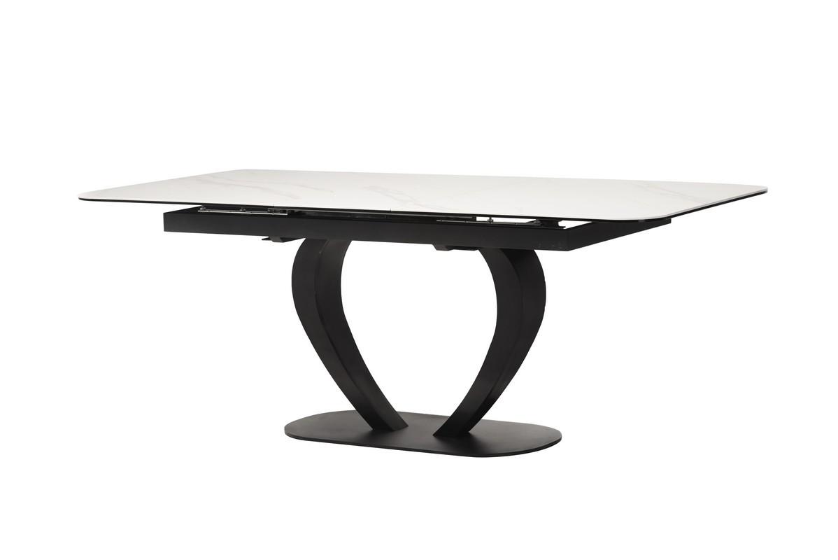 Стол TML-815 матовый белый керамика 160/200 от Vetro Mebel, черные ноги