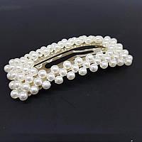 Прикраса для волосся з перлами (шпилька клік клак квадратна) 6 см