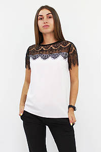 Молодіжна біла блузка з мереживом Inza