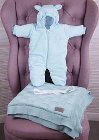 """Зимний комплект для новорожденных детей на выписку, """"Мечта+ВВ"""" мята"""