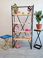 Полка для книг и декора, стеллаж для дома и офиса из натурального дерева и металла в стиле Loft