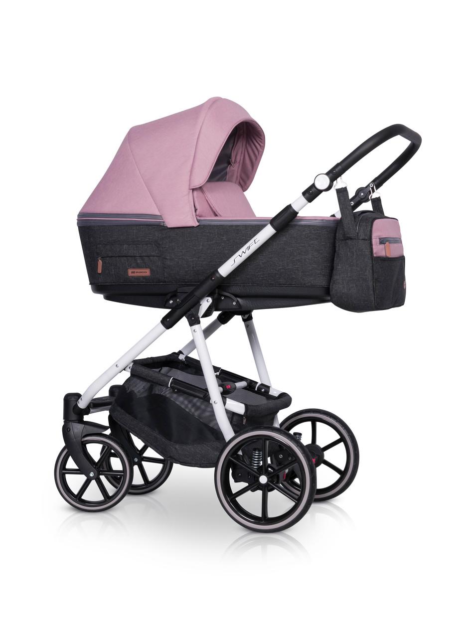 Розовая стильная универсальная коляска для девочки от 0 до 36мес