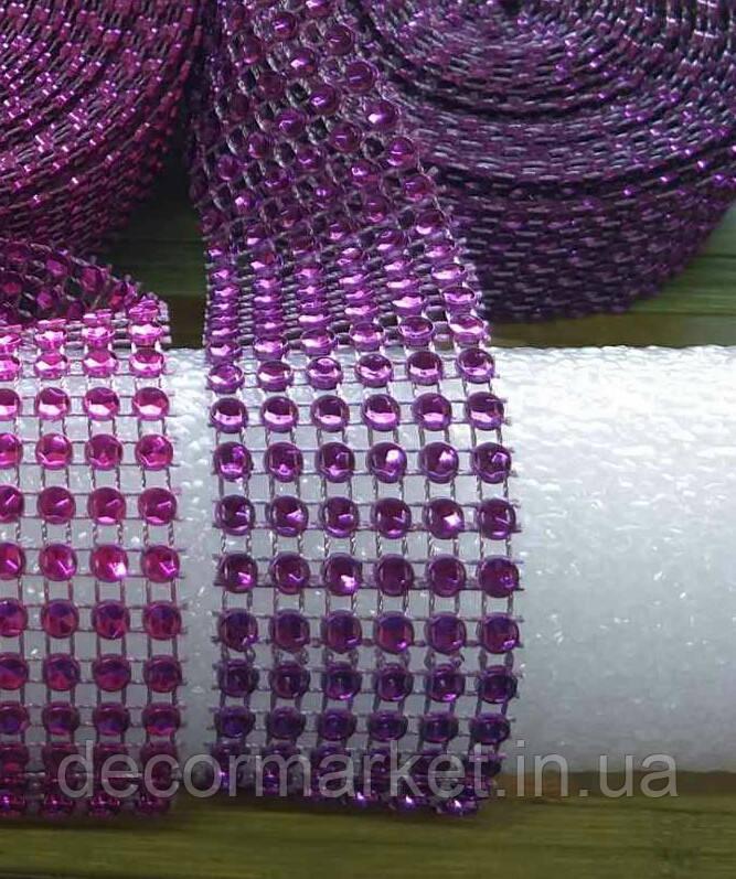 Лента стразовая 3 см, цвет фиолетовый