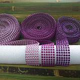 Лента стразовая 3 см, цвет фиолетовый, фото 2