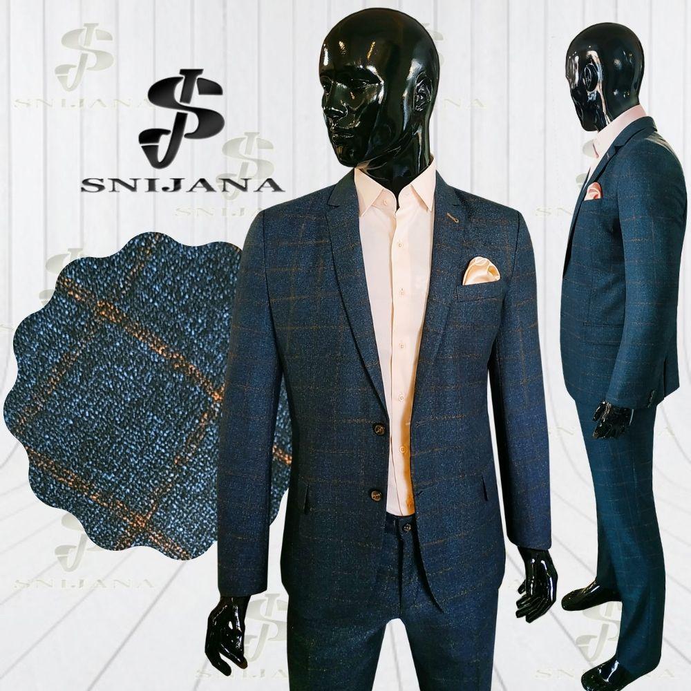 Чоловічий костюм синій в клітинку Soho 4