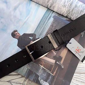 Чоловічий шкіряний ремінь Calvin Klein репліка Чорний