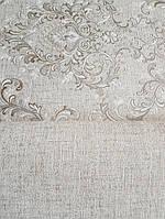 Обои виниловые на флизелине Grandeco Virtuoso метровые однотонные под ткань лен песочные, фото 1