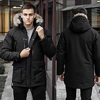 Зимняя мужская парка на флисе, черная теплая куртка с мехом