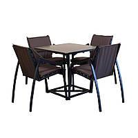 """Комплект садовой мебели """"Парма"""" стол (80*80) + 4 стула Венге, фото 1"""