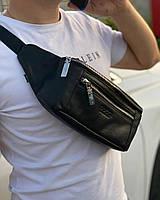 Мужская кожаная сумка на пояс бананка Gucci Гуччи, поясная сумка мужская, нагрудная сумка, кросс боди мужская