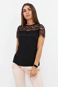 Молодіжна чорна блузка з мереживом Inza