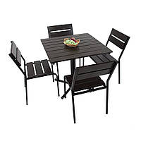 """Комплект меблів для літніх майданчиків """"Ріо"""" стіл (80*80) + 4 стільця Білий, фото 1"""