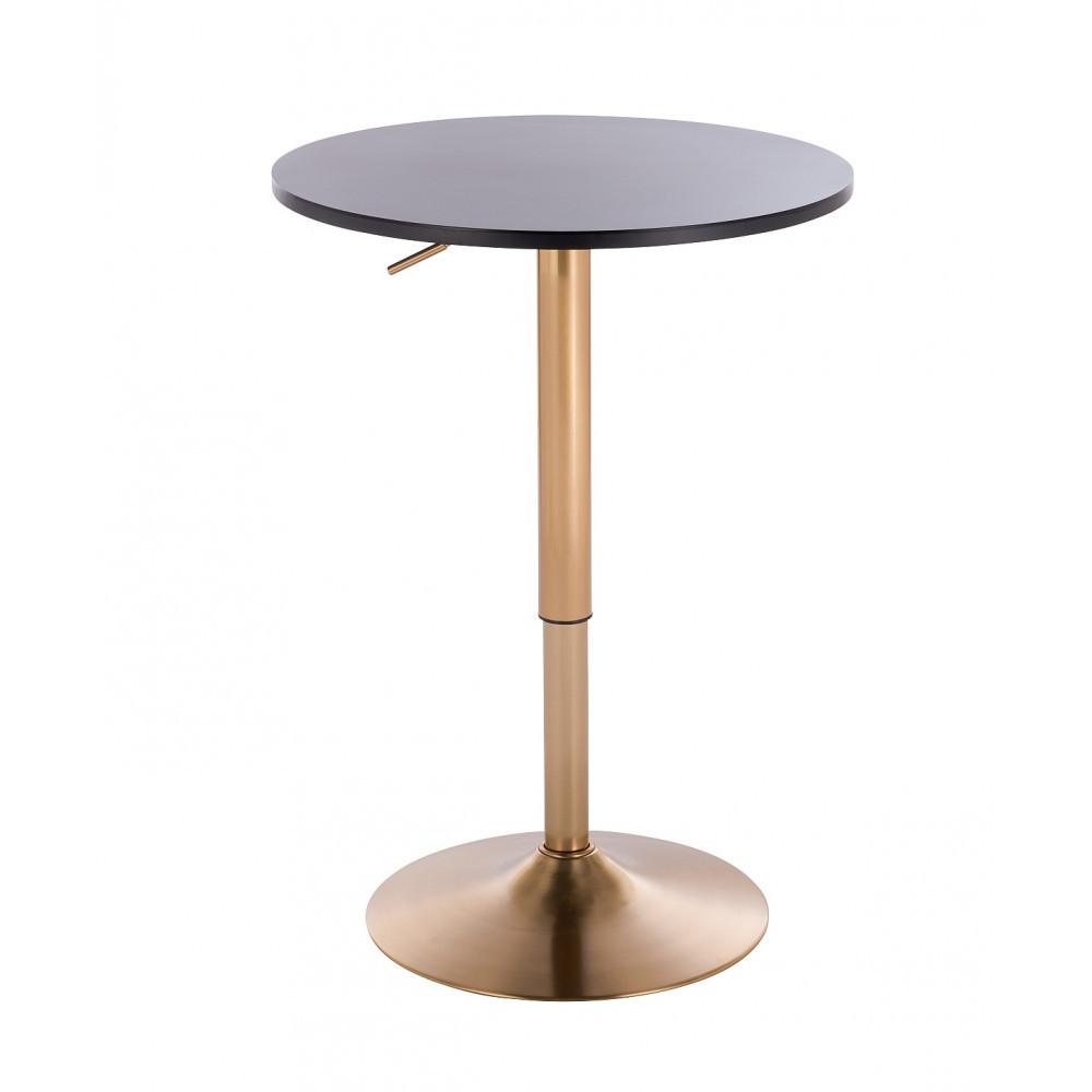 Барный стол HC8058 черный опора золотая круглая