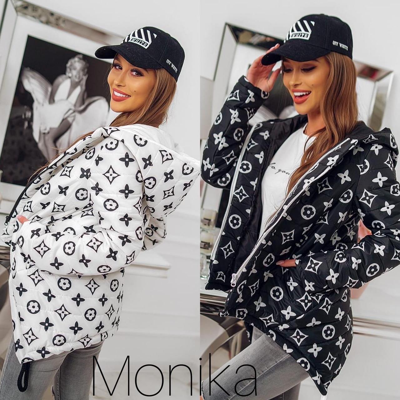 Куртка женская демисезонная чёрная, белая, 42-44, 46-48