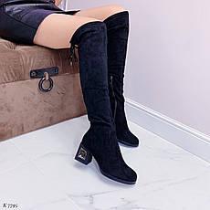 Ботфорты женские черного цвета из эко замши еврозима. Ботфорти високі зимові, фото 2