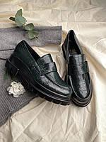 Женские кожаные лоферы оливковые B261-2 Остался 38 размер