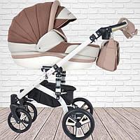 """Универсальная коляска для новорожденных 2 в 1 """"MACAN"""" White-Brown"""
