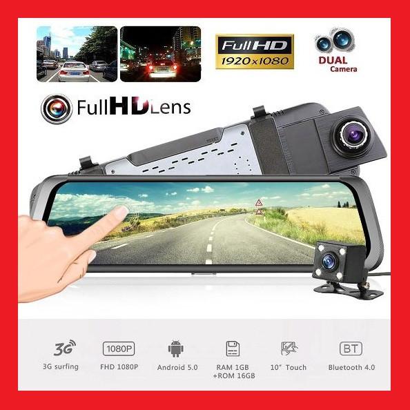 "E05 Зеркало регистратор, 10"" сенсор, 2 камеры, GPS навигатор, WiFi, 16Gb, Android, 3G"