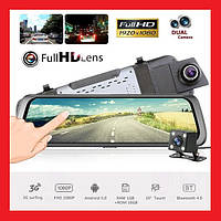 "E05 Зеркало регистратор, 10"" сенсор, 2 камеры, GPS навигатор, WiFi, 16Gb, Android, 3G, фото 1"
