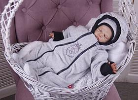 """Демисезонный велюровый комбинезон с шапочкой для новорожденных """"Львенок"""", серый"""