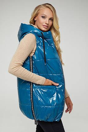 Голубой стеганый жилет утепленный из плащевой ткани размер большой от 50 до 60, фото 2