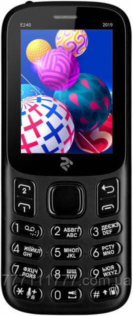 """Кнопочный телефон с хорошим аккумулятором большой емкости, камерой и фонариком на 2 sim 2E E240 Black 2.4"""""""